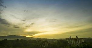 Schoonheidszonsopkomst in de vroege ochtend in Maleisië Een boom met het gouden licht stock footage