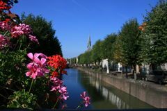 Schoonhoven. Canal in downtown Schoonhoven, The Netherlands Royalty Free Stock Photo