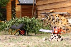 Schoonmaakbeurt in de tuin stock afbeelding