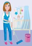 Schoonmaken van kinderdagverblijf royalty-vrije illustratie