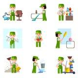 Schoonmakend bedrijf, vector professioneel pictogram, royalty-vrije illustratie