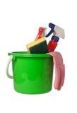 Schoonmakend hulpmiddelen en detergens Stock Foto