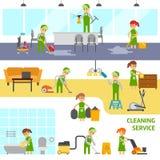 Schoonmakende de dienst infographic elementen Reinigingsmachines vector vlakke illustratie Royalty-vrije Stock Foto