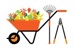 Schoonmakende de kruiwagen vectorillustratie van bladerenhulpmiddelen Stock Foto