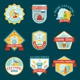 Schoonmakende Geplaatste Emblemen royalty-vrije illustratie