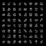 Schoonmakende geplaatste pictogrammen Stock Foto's