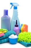 Schoonmakende levering, spons, microfibre, handdoeken, servetten Stock Afbeelding