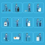 Schoonmakende mensen vlakke pictogrammen Stock Afbeelding