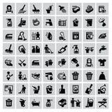 Schoonmakende pictogrammen royalty-vrije illustratie