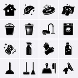 Schoonmakende pictogrammen Stock Foto's