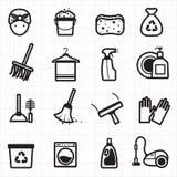Schoonmakende zwarte pictogrammen Stock Fotografie