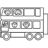 Schoool bus geometrical figures coloring page Royalty Free Stock Image