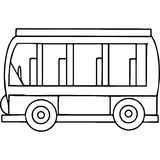 Schoool bus geometrical figures coloring page Royalty Free Stock Photo