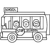 Schoool bus geometrical figures coloring page Stock Photography
