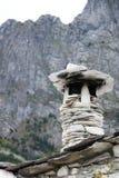 Schoorsteen en dak volledig in steen en marmer Garfagnana, Nok royalty-vrije stock foto