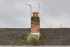 Schoorsteen op een bemost dak stock afbeelding