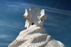 Schoorstenen van Casa Mila in Barcelona Royalty-vrije Stock Foto's
