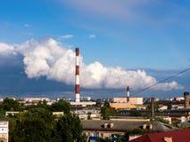 Schoorstenen 1 van de fabriek Stock Afbeeldingen