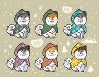 Schor die puppy in kleurrijke regenjassen worden geplaatst De vectorillustratie van het beeldverhaal Stock Foto's