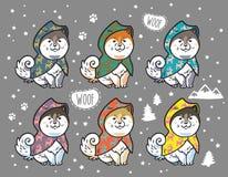 Schor die puppy in kleurrijke regenjassen worden geplaatst De vectorillustratie van het beeldverhaal Royalty-vrije Stock Foto