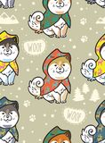 Schor puppy op kleurrijke regenjassen vector eindeloze achtergrond Royalty-vrije Stock Fotografie