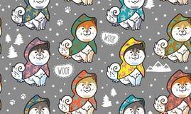 Schor puppy op kleurrijke regenjassen vector eindeloze achtergrond Royalty-vrije Stock Afbeeldingen