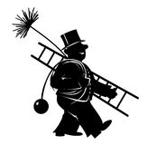 Chimney. Stylized illustration of chimney sweeper at work Royalty Free Stock Photo