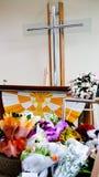 Schot van Bloem & kaars voor een begrafenis wordt gebruikt die stock afbeelding