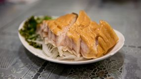 Schotel gerookt haailapje vlees Gekookt in Chinees restaurant in Taiwan stock foto