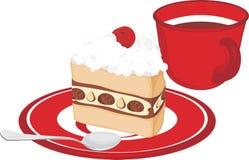 Schotel met cake en koffiekop op wh wordt geïsoleerd die Stock Afbeeldingen