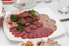 Schotel met heerlijke gesneden salami, plakken van ham, worst, rundvleestong, peterselie Vleesschotel met selectie Royalty-vrije Stock Afbeeldingen