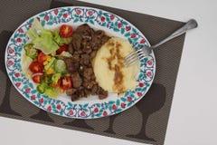 Schotel met vlees wordt gecombineerd dat stock foto's