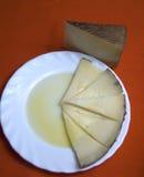 Schotel met wiggen van kaas en olie stock foto