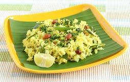 Schotel van de zuiden de Indische Traditionele en Populaire Rijst, Citroenrijst Stock Fotografie