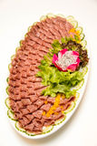Schotel van gemengde fijne vleeswaren Stock Fotografie