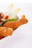 Schotel van gemengde vlees, salade en Frieten royalty-vrije stock foto