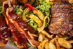 Schotel van gemengde vlees, salade en Frieten royalty-vrije stock foto's