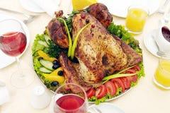 Schotel van geroosterd Turkije Barbecuevoedsel royalty-vrije stock fotografie