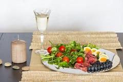 Schotel van het ontbijt de koude voedsel Stock Afbeeldingen