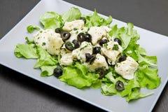 Schotel van kabeljauwsalade met zwarte olijven stock afbeeldingen