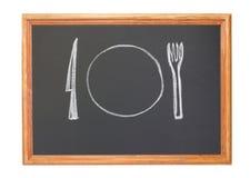 Schotel, vork en mes stock fotografie