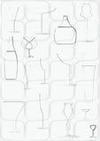 Schotels voor alcohol (contour) Royalty-vrije Stock Afbeelding