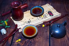 Schotels voor de Chinese theeceremonie stock foto