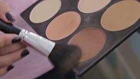 3 schoten Professionele grimeur die make-up op het gezicht van het mooie jonge sensuele model toepassen stock videobeelden