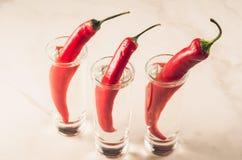 schoten van wodka en roodgloeiende Spaanse peperpeper op de bar/schoten van wodka en roodgloeiende Spaanse peperpeper op een ehit stock afbeeldingen