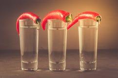 Schoten van wodka en Spaanse peper/schoten van wodka en Spaanse peper op een donkere achtergrond gestemd stock foto