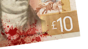 Schots Bankbiljet, 10 ponden, bloed Royalty-vrije Stock Foto