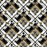 Schots geruit Schots wollen stof grunge naadloos patroon met de vlekken van de luipaardhuid en hondpoot EPS10 vector illustratie