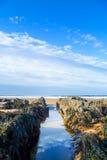 Schots strand die de Noordzee overzien Stock Foto's
