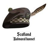 Schotse die bonnet met pompon met een broche en veervalk, balmoral bonnet wordt opgesmukt vector illustratie